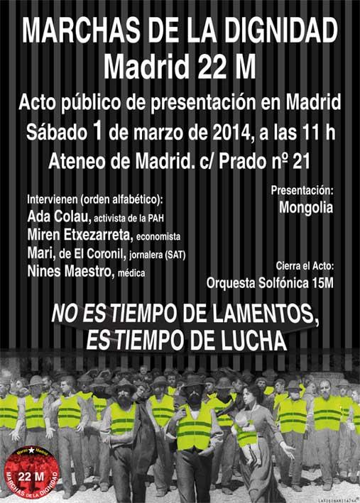#22M - Presentación en Madrid Marchas de la Dignidad