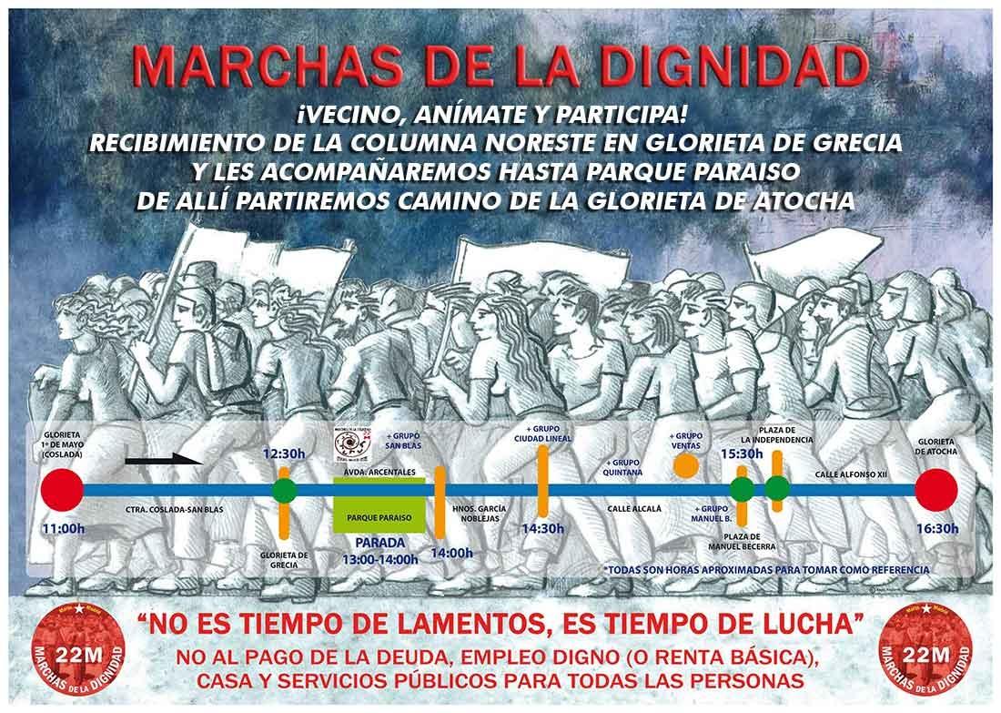 Recorrido Zona Nordeste Marchas de la Dignidad 22M