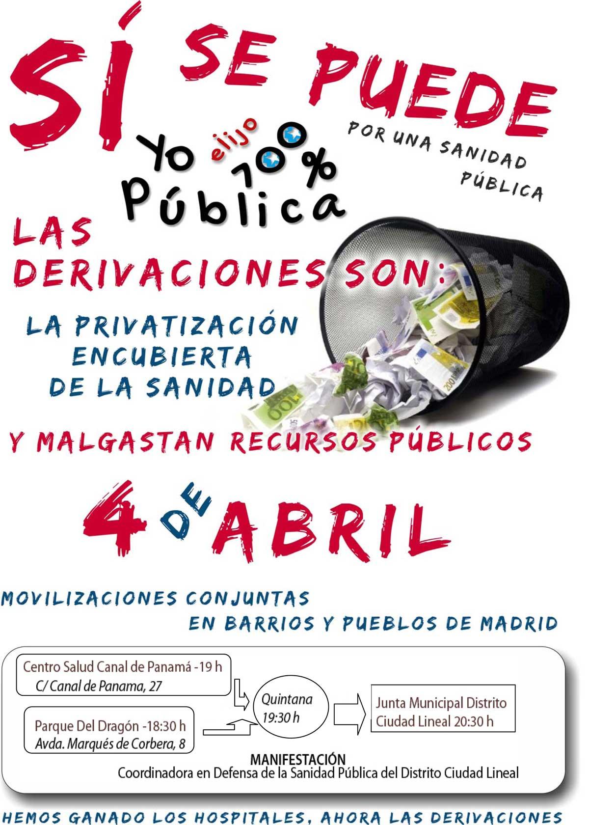4 de abril, jornadas de luchas coordinadas en pueblos y barrios de Madrid contra las derivaciones a la sanidad privada