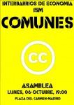 Interbarrios: Asamblea sobre #Comunes. Lunes, 6 de Octubre Pza.Carmen 19:00