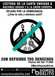 VELADA POR LA DEMOCRACIA, 20N, SOL, 17:00H  NO SOMOS DELITO!
