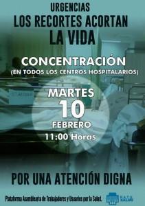 ¡LOS RECORTES ACORTAN LA VIDA ! Concentración en todos los hospitales 10-2-2015
