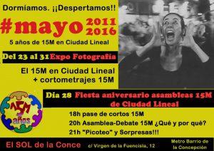 EXPOSICIÓN FOTOGRAFIA Y FIESTA 5º ANIVERSARIO DEL 15M EN C LINEAL